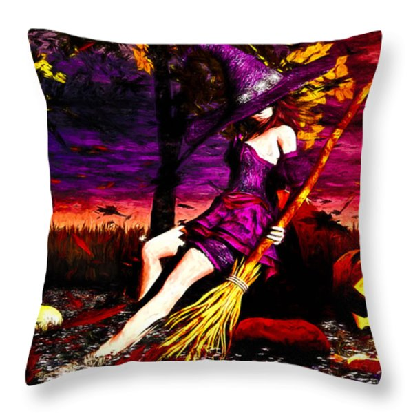 Witch In The Punkin Patch Throw Pillow by Bob Orsillo