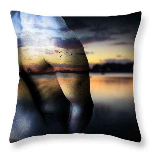 with the sea  Throw Pillow by Mark Ashkenazi