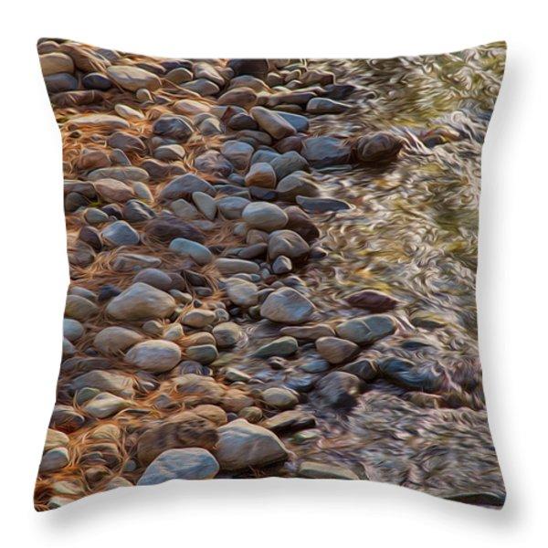 Wolf Creek Upstream Throw Pillow by Omaste Witkowski