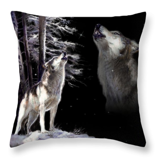 Wolf  howling memory Throw Pillow by Gina Femrite