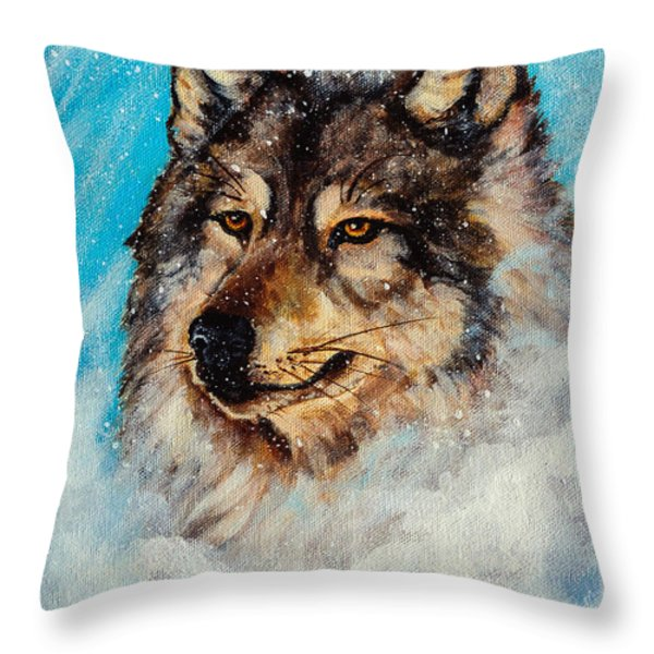 Wolf In A Snow Storm Throw Pillow by  Bob and Nadine Johnston