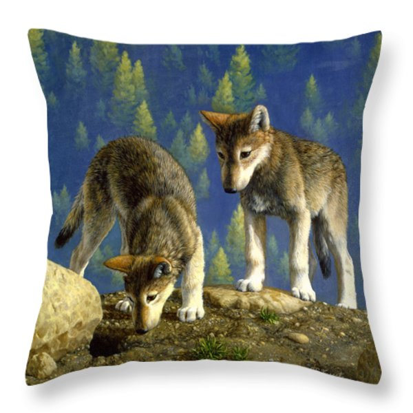 Wolf Pups - Anybody Home Throw Pillow by Crista Forest