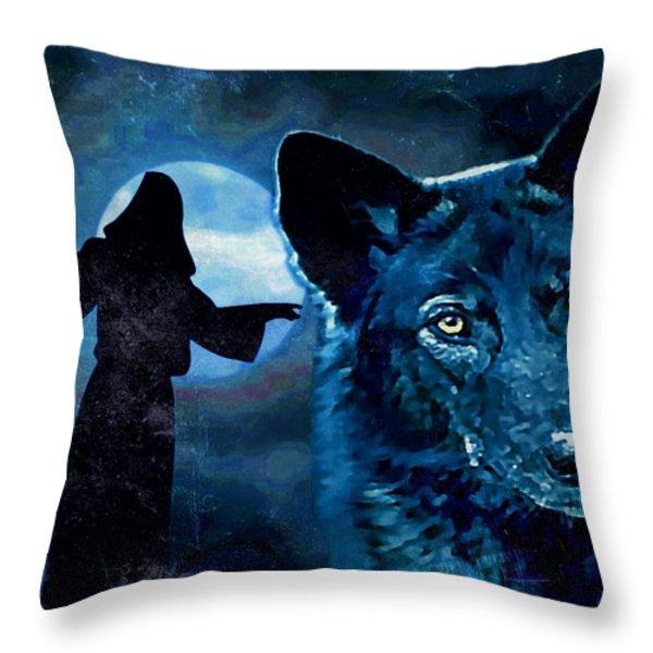 Wolfdog Hybrid Throw Pillow by Tisha McGee