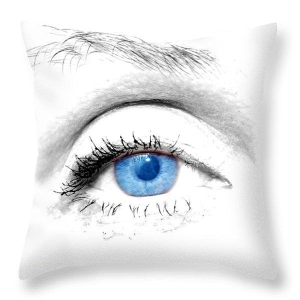 Woman Blue Eye Throw Pillow by Michal Bednarek