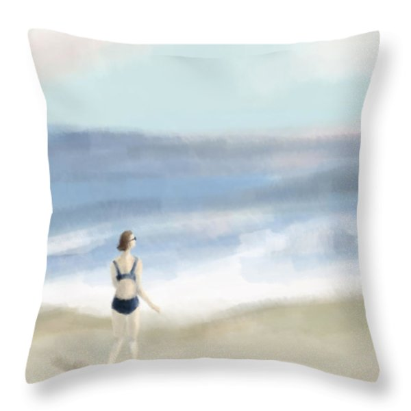 Woman By The Sea Throw Pillow by Beverly Brown Prints