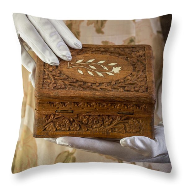Woman In A Dress Opening A Ornate Box Throw Pillow by Edward Fielding
