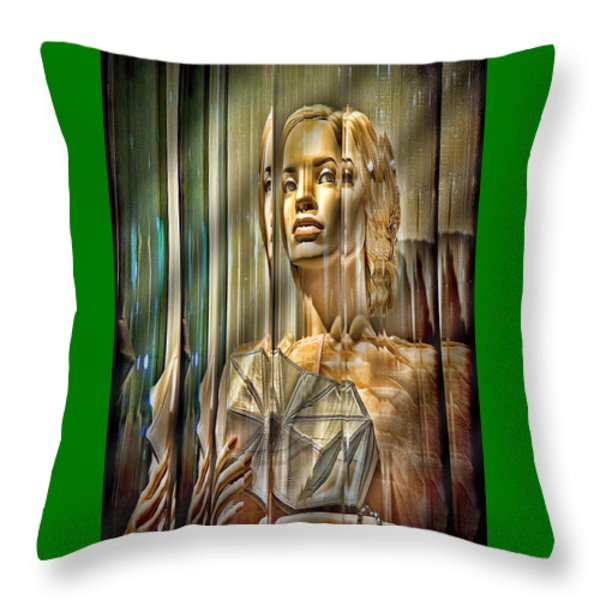Woman In Glass Throw Pillow by Chuck Staley