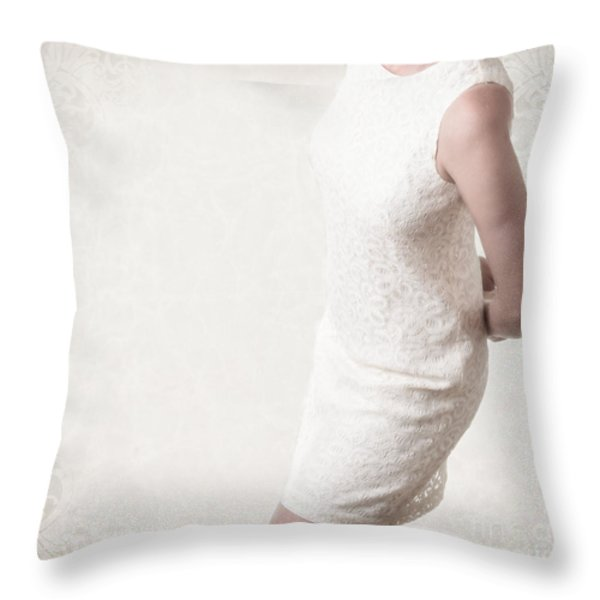 Woman In Lace Dress Throw Pillow by Edward Fielding