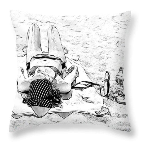 Woman On Beach Throw Pillow by Les Palenik