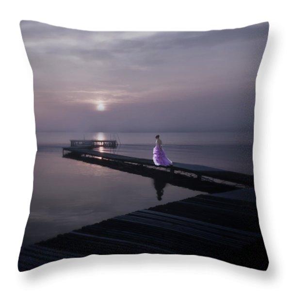 Woman On Footbridge Throw Pillow by Joana Kruse