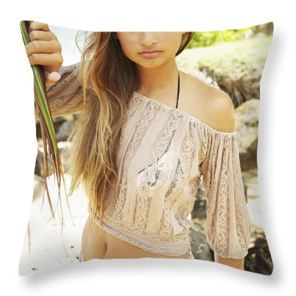 Woman on Hawaiian Beach Throw Pillow by Kicka Witte