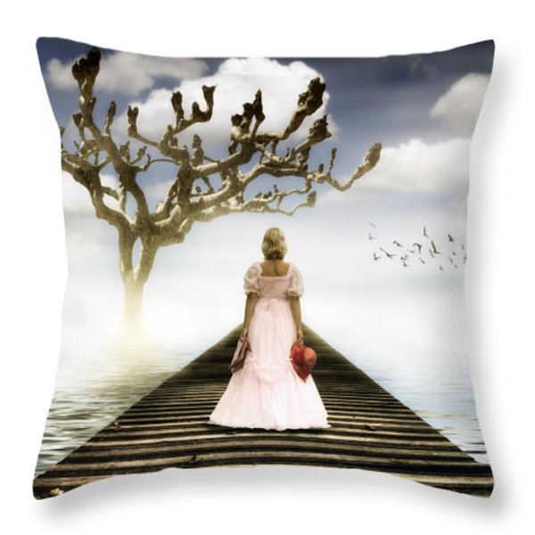 woman on pier Throw Pillow by Joana Kruse