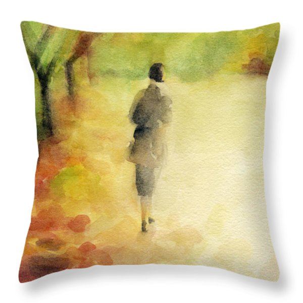 Woman Walking Autumn Landscape Watercolor Painting Throw Pillow by Beverly Brown Prints