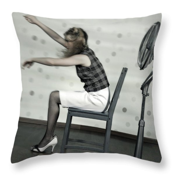 Woman With Fan Throw Pillow by Joana Kruse