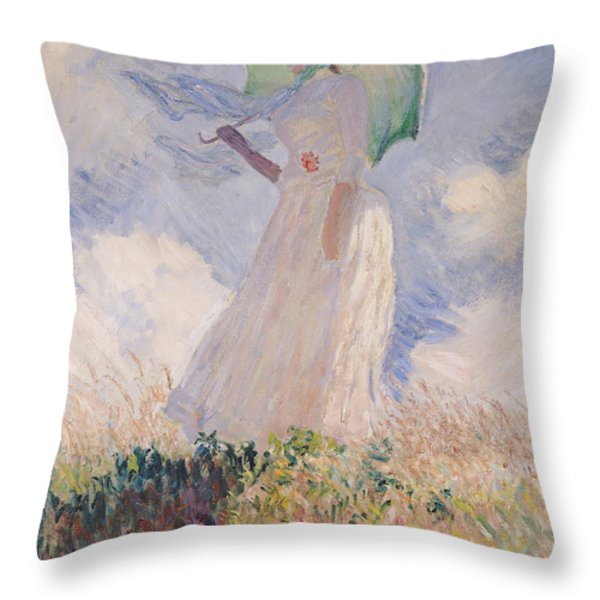 Woman With Parasol Turned To The Left Throw Pillow by Claude Monet