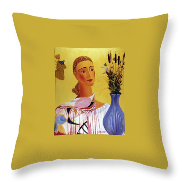 Woman With Shawl Throw Pillow by Israel Tsvaygenbaum