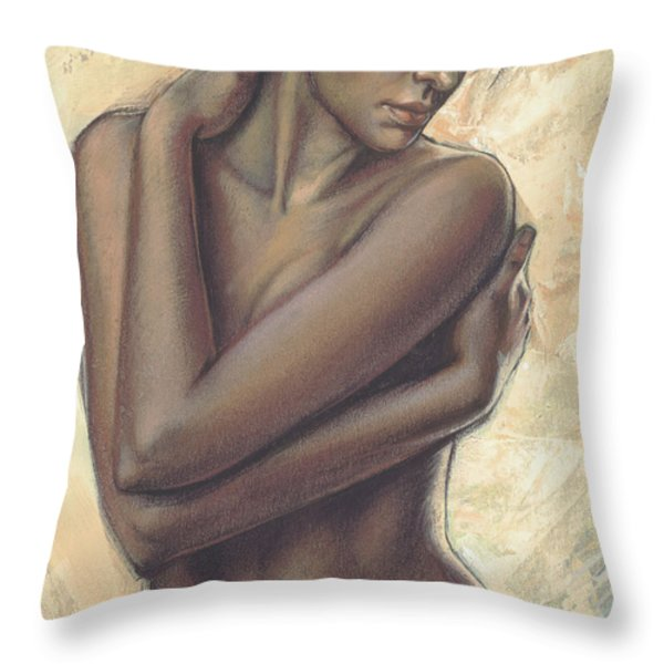 Woman With White Drape Crop Throw Pillow by Zorina Baldescu