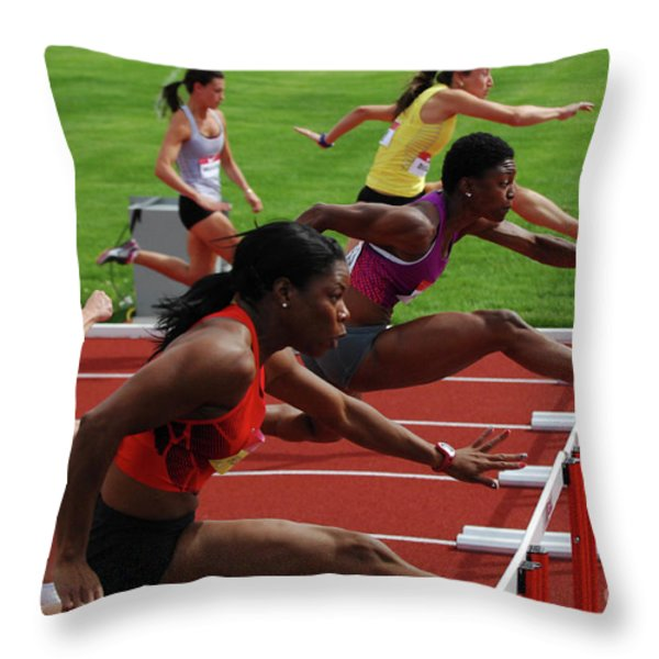 Womens Hurdles 3 Throw Pillow by Bob Christopher