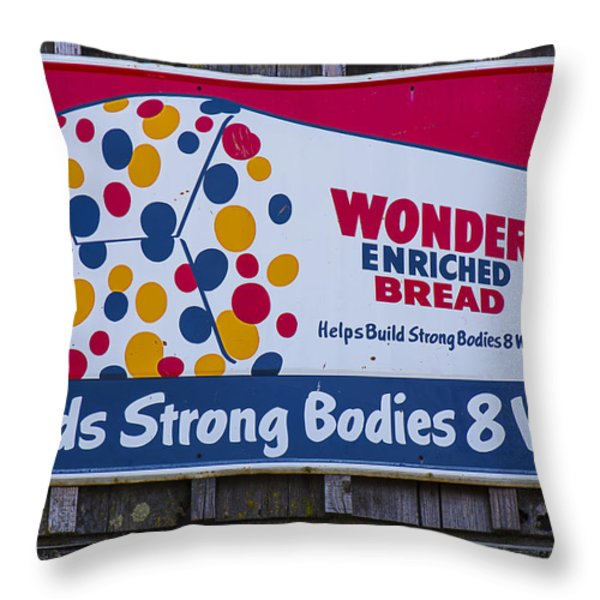 Wonder Bread Sign Throw Pillow by Garry Gay