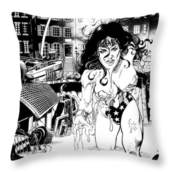 Wonder Woman Battle Throw Pillow by Ken Branch