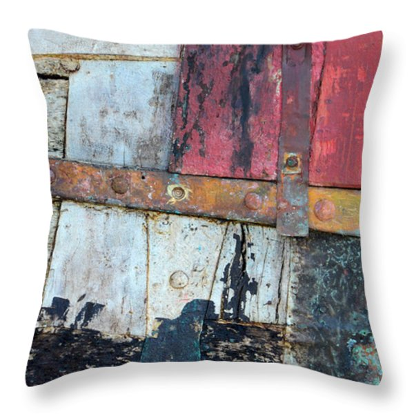 Wood and Metal Abstract Throw Pillow by Jill Battaglia