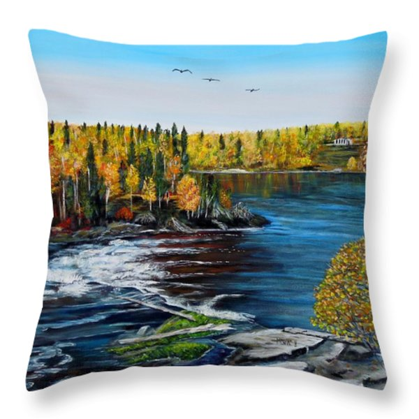 Wood Falls  Throw Pillow by Marilyn  McNish