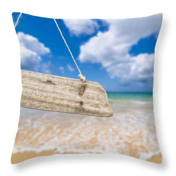 Wooden Beach Sign Algarve Portugal Throw Pillow by Amanda And Christopher Elwell