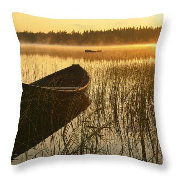 Wooden Boat Throw Pillow by Veikko Suikkanen