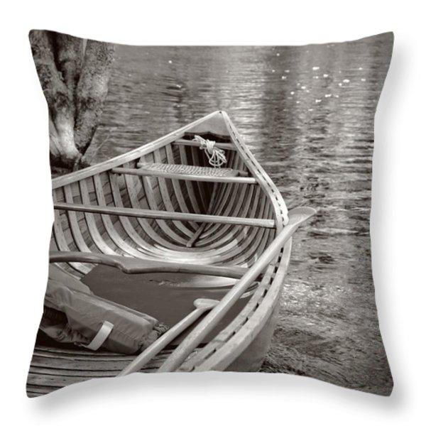 Wooden Canoe Throw Pillow by Edward Fielding