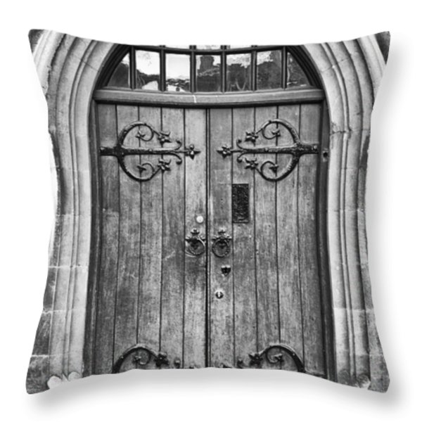 Wooden Door at Tower Hill BW Throw Pillow by Christi Kraft
