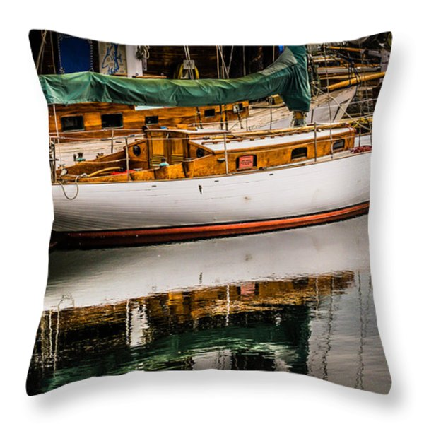 Wooden Sailboat Throw Pillow by Puget  Exposure