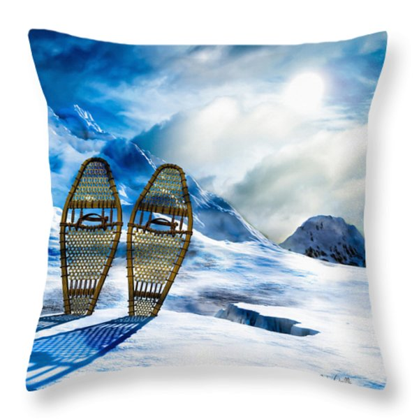 Wooden Snowshoes  Throw Pillow by Bob Orsillo
