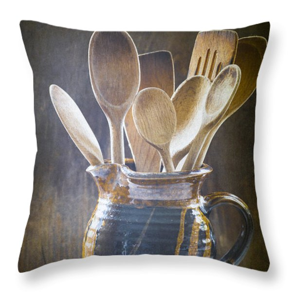 Wooden Spoons Throw Pillow by Jan Bickerton