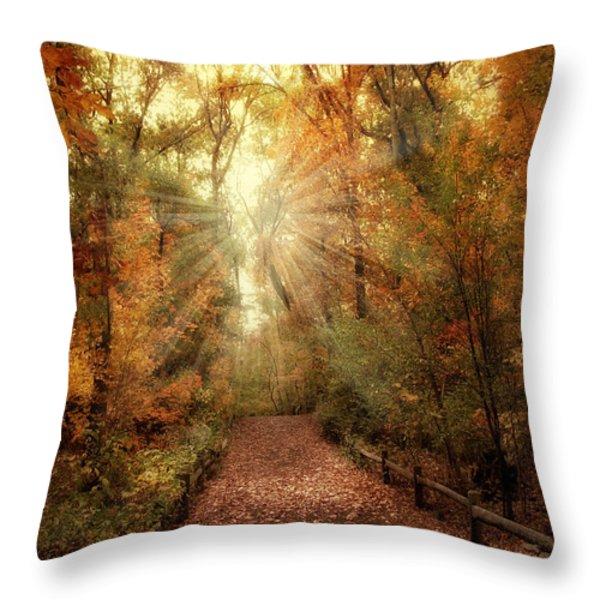 Woodland Light Throw Pillow by Jessica Jenney
