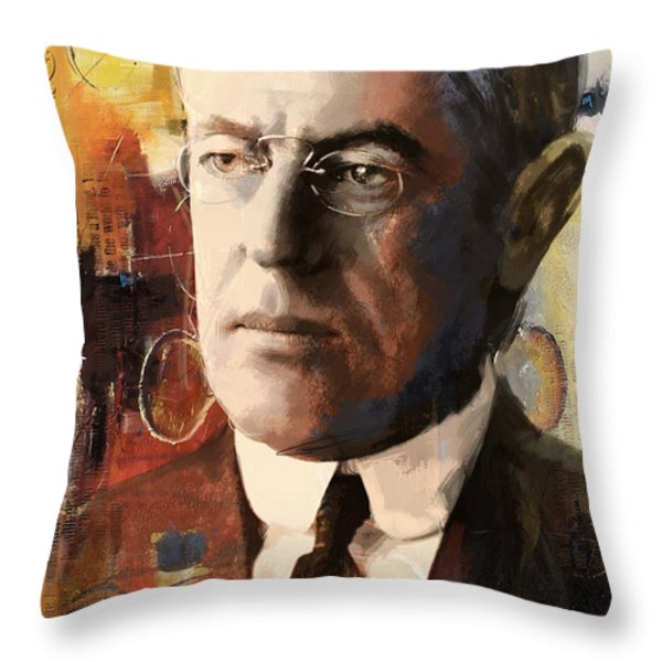 Woodrow Wilson Throw Pillow by Corporate Art Task Force
