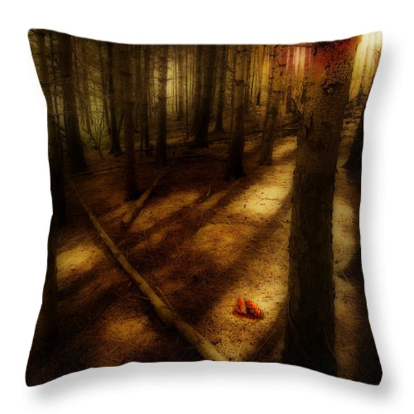 Woods With Pine Cones Throw Pillow by Meirion Matthias