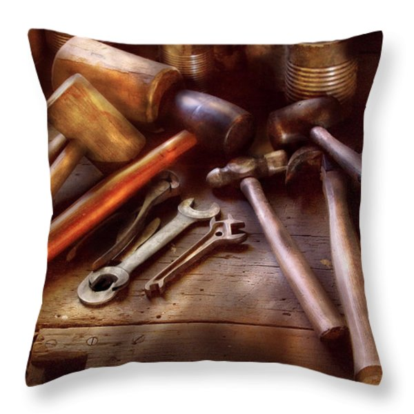 Woodworker - A Collection Of Hammers  Throw Pillow by Mike Savad