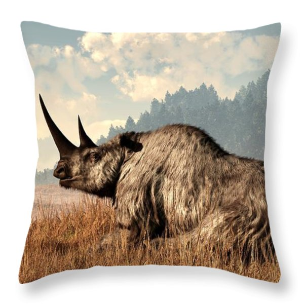 Woolly Rhino and a Marmot Throw Pillow by Daniel Eskridge