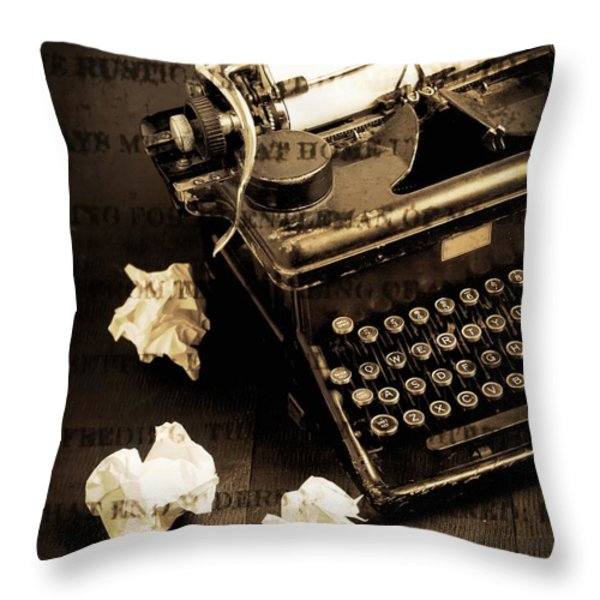 Words Punched On To Paper Throw Pillow by Edward Fielding