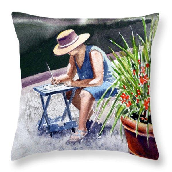 Working Artist Throw Pillow by Irina Sztukowski