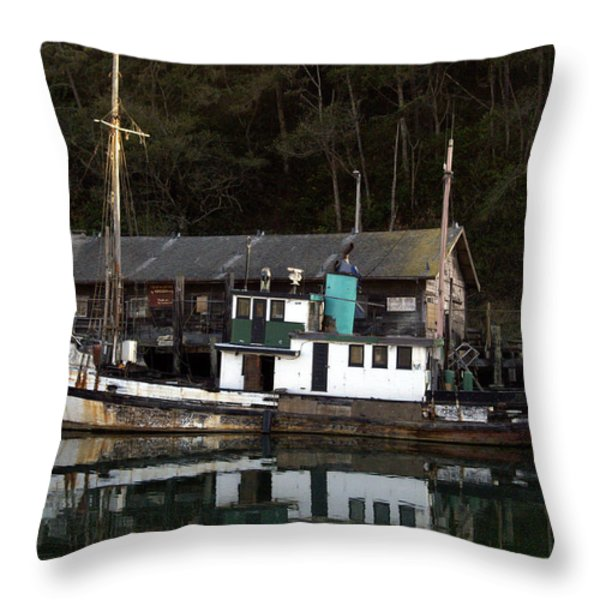 Working Boat Throw Pillow by Bill Gallagher