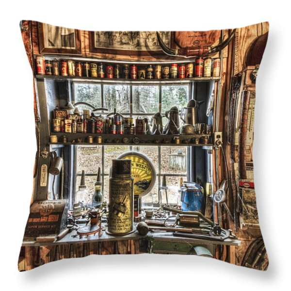 Workshop Throw Pillow by Debra and Dave Vanderlaan