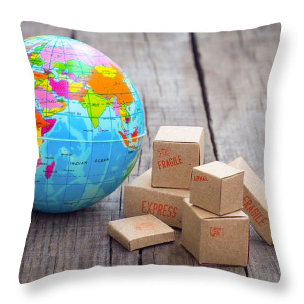 World Import And Export Throw Pillow by Aged Pixel
