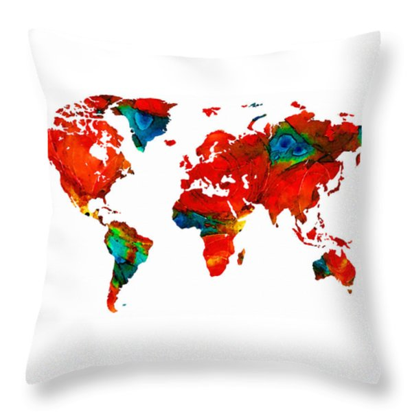 World Map 12 - Colorful Red Map By Sharon Cummings Throw Pillow by Sharon Cummings