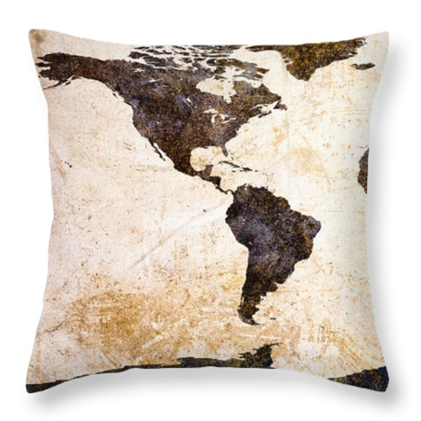 World Map Abstract Throw Pillow by Bob Orsillo
