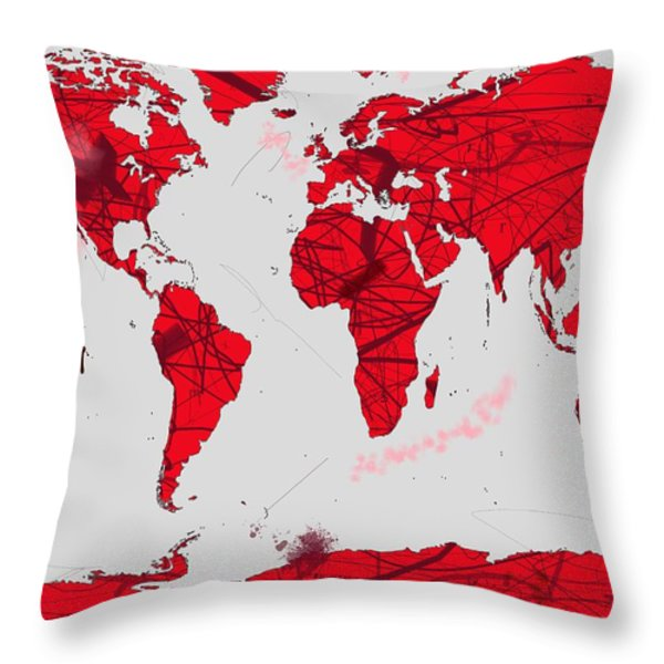 World Map Calligraphy Throw Pillow by Andre Pillay