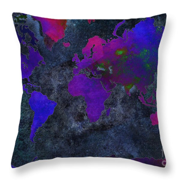 World Map - Purple Flip The Dark Night - Abstract - Digital Painting 2 Throw Pillow by Andee Design