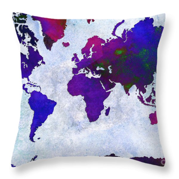 World Map - Purple Flip The Light Of Day - Abstract - Digital Painting 2 Throw Pillow by Andee Design