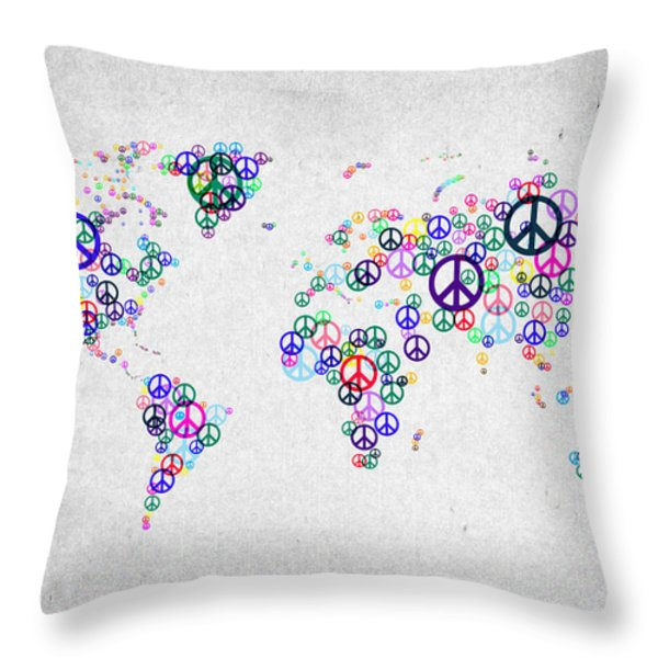 World Peace Map Throw Pillow by Aged Pixel