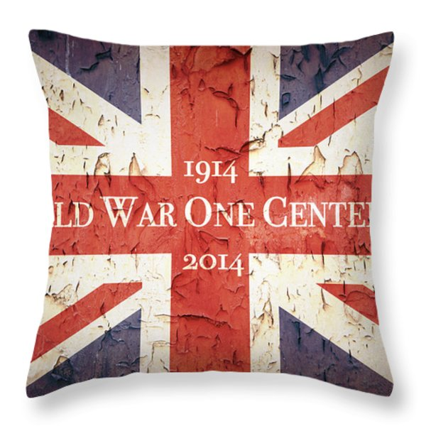 World War One Centenary Union Jack Throw Pillow by Jane Rix